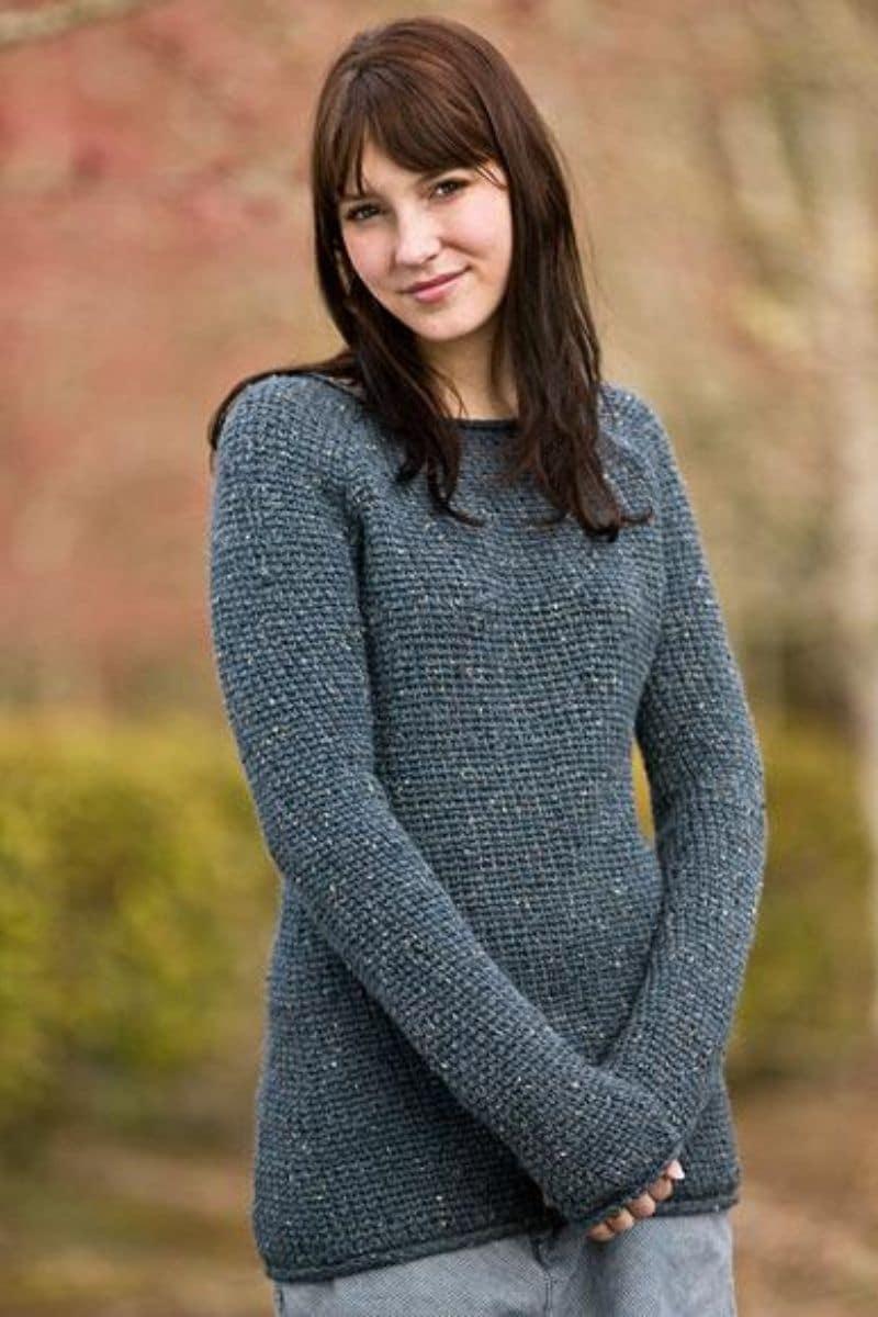 Brunette in grey sweater