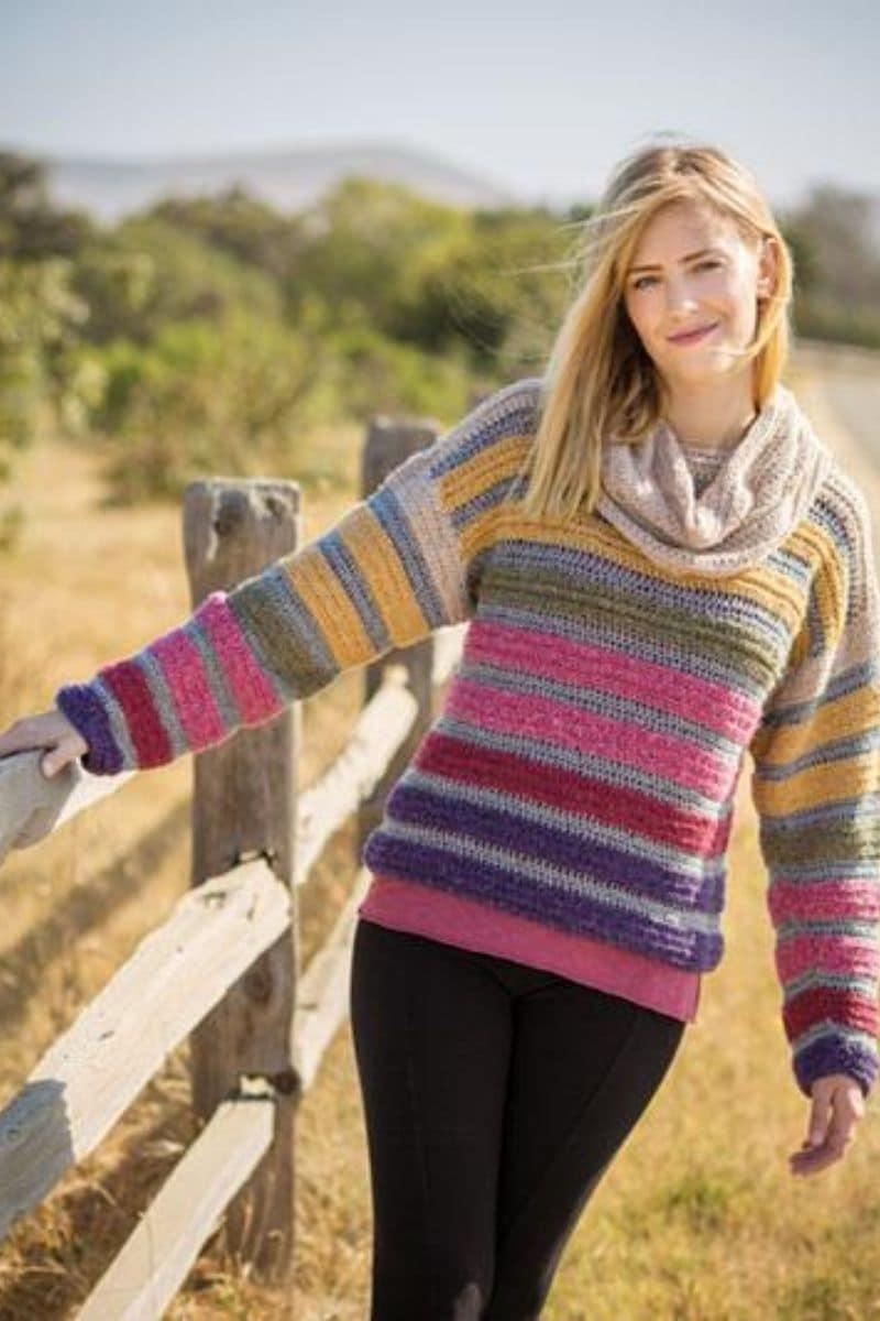 Blonde in striped sweater