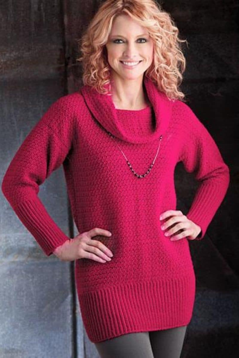 Bright pink sweater with cowl neck