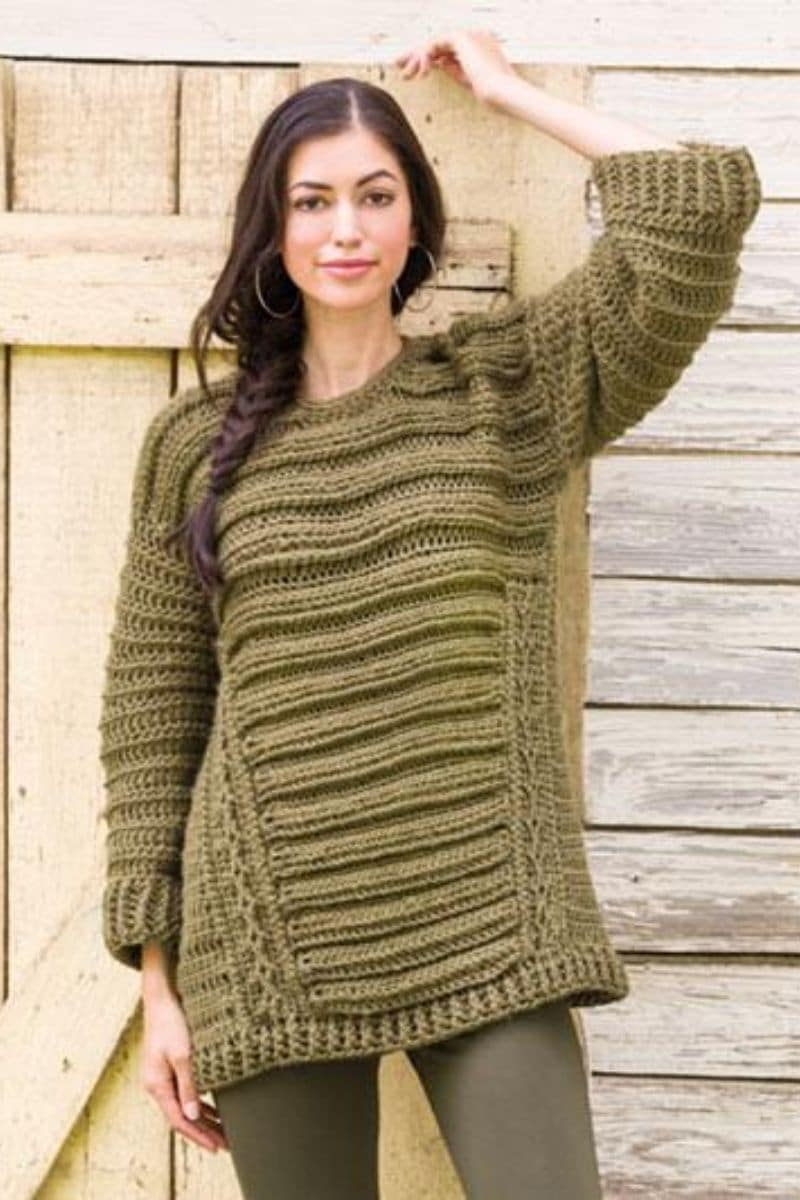 Green patterned sweater