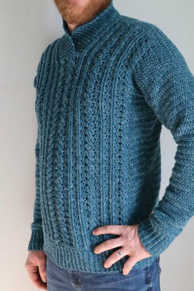 Teal mens pullover sweater