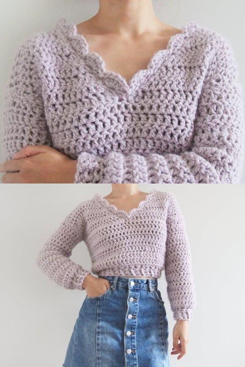 Lavender crop sweater