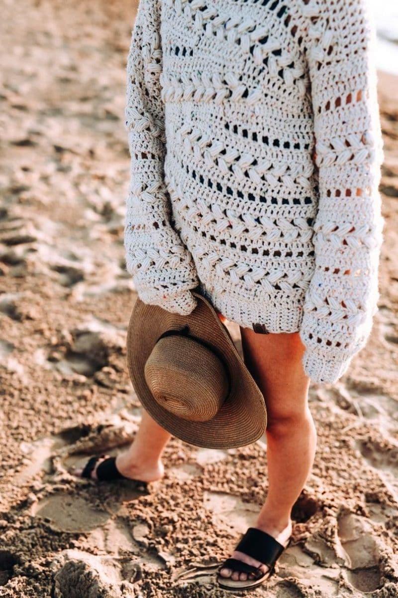 White bobble sweater