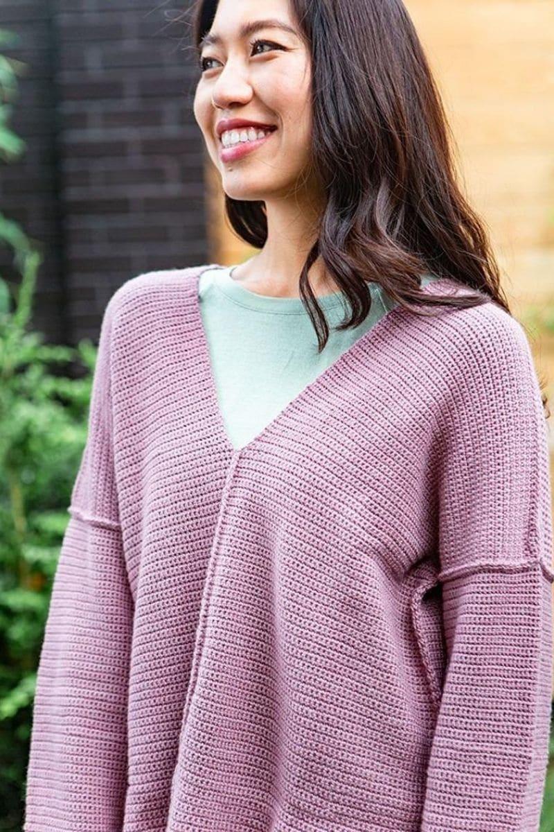 Pink vneck patchwork sweater