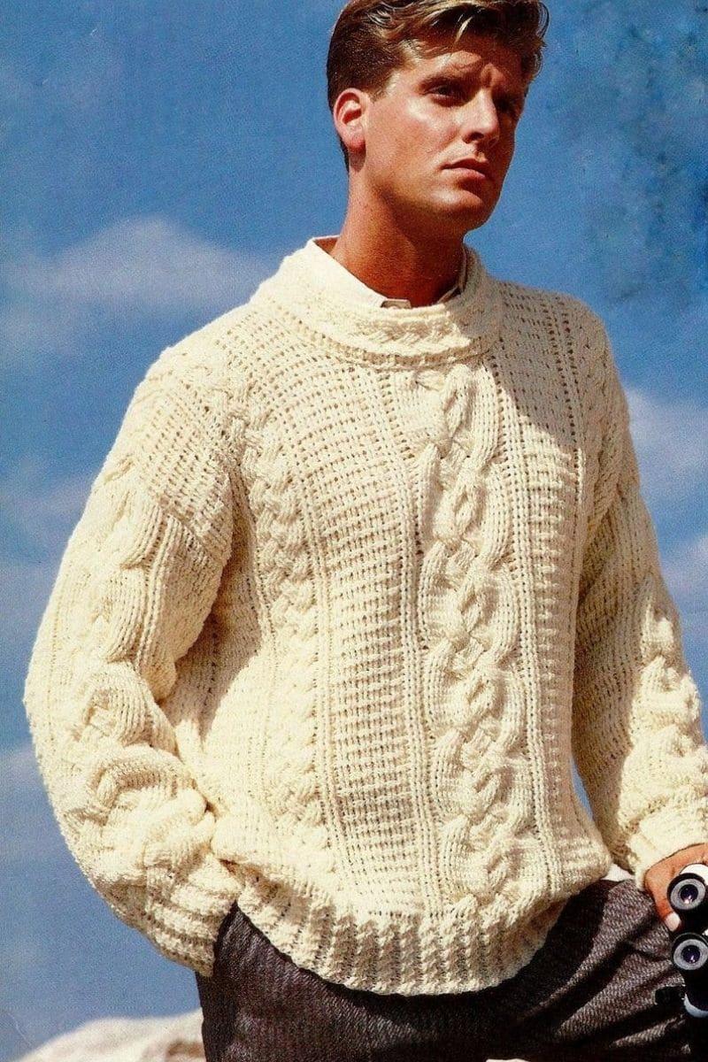 Cream mens fisherman sweater