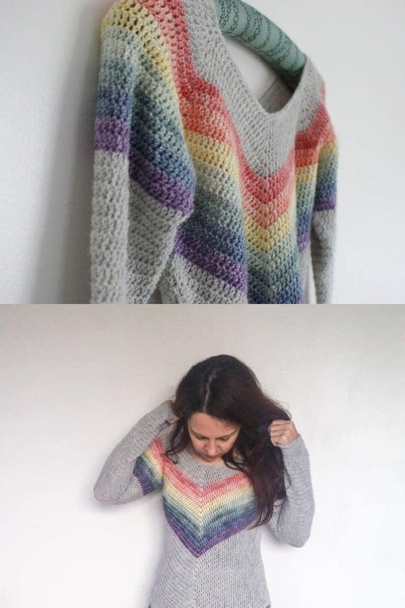 Grey rainbow sweater