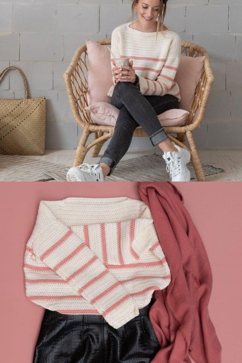 Cream pink striped sweater