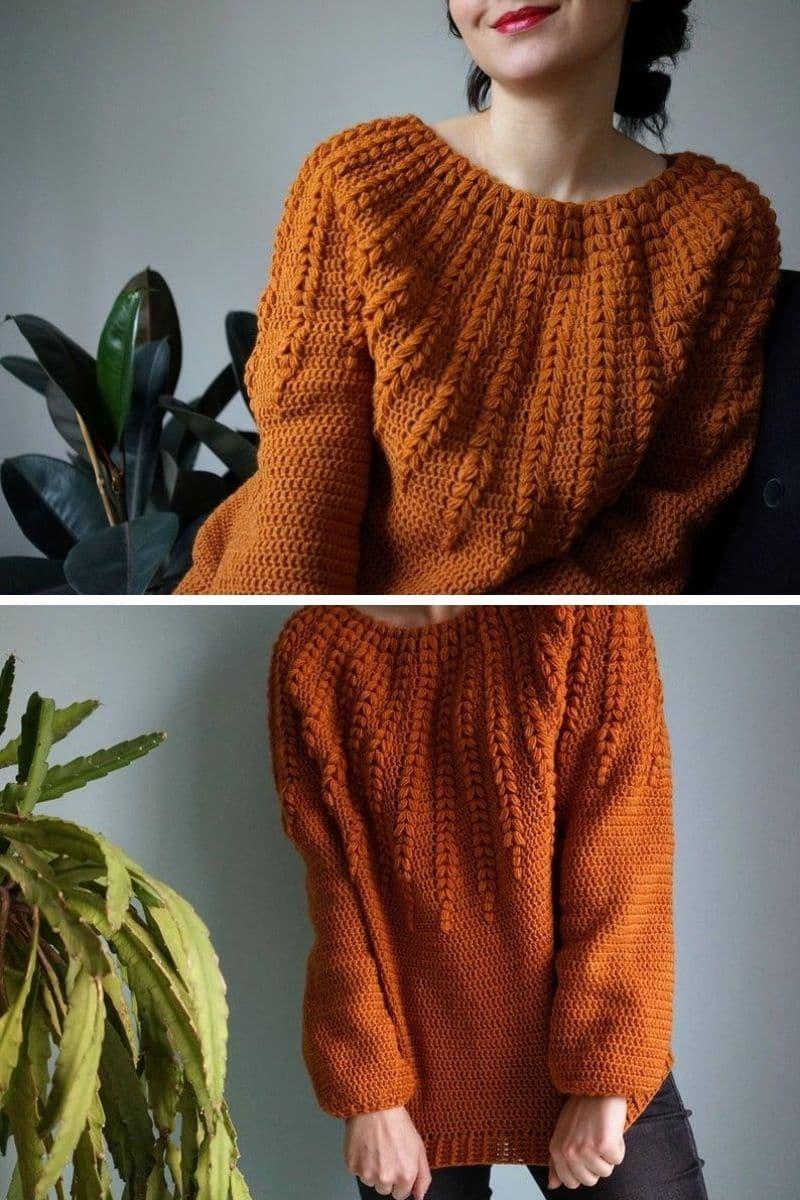 Burnt orange ornate sweater