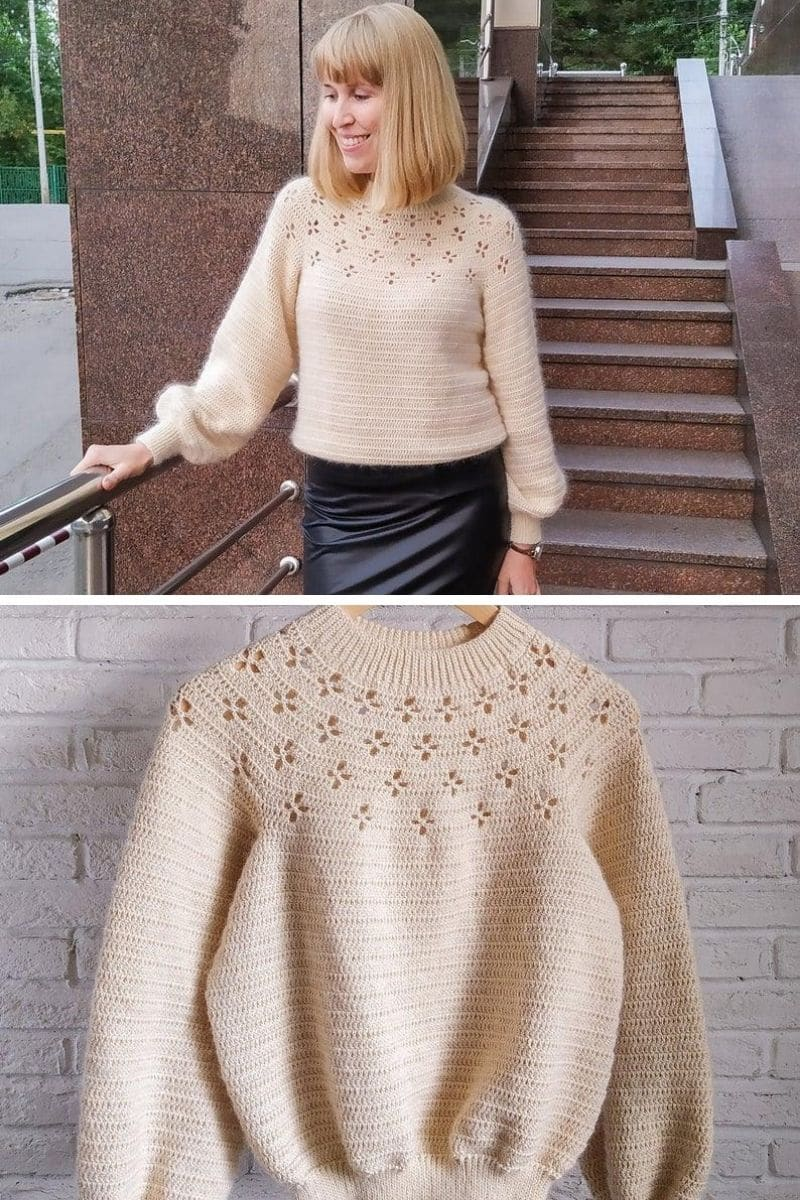 Cream sweater with flower accents