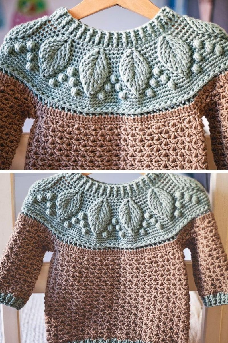 Kids harvest leaf sweater in green and brown
