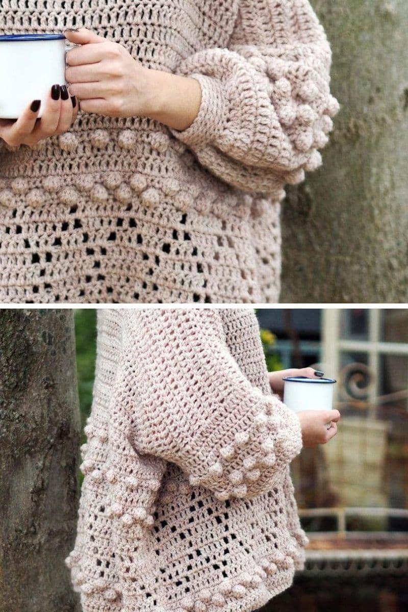 Cream bobble and diamond sweater