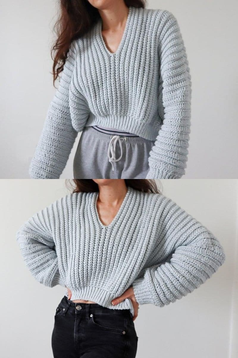 Light grey crop sweater