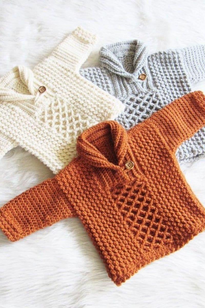 Cream and orange kids pullover