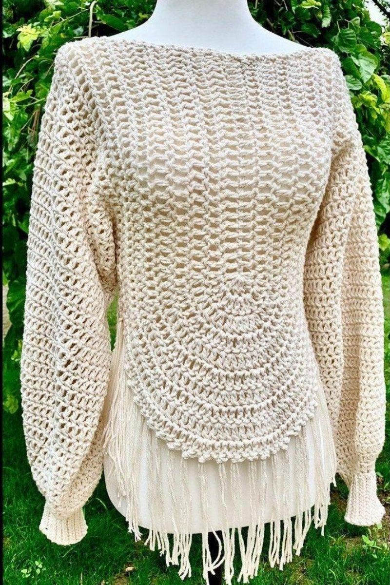 Cream fringe sweater