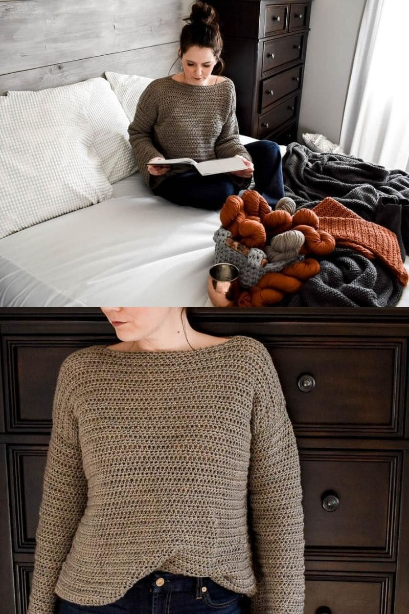 Woman on bed in sweater