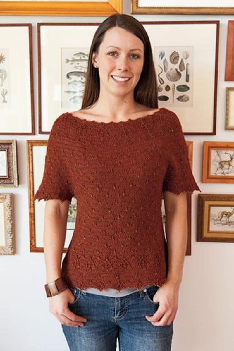 Burnt orange short sleeve sweater