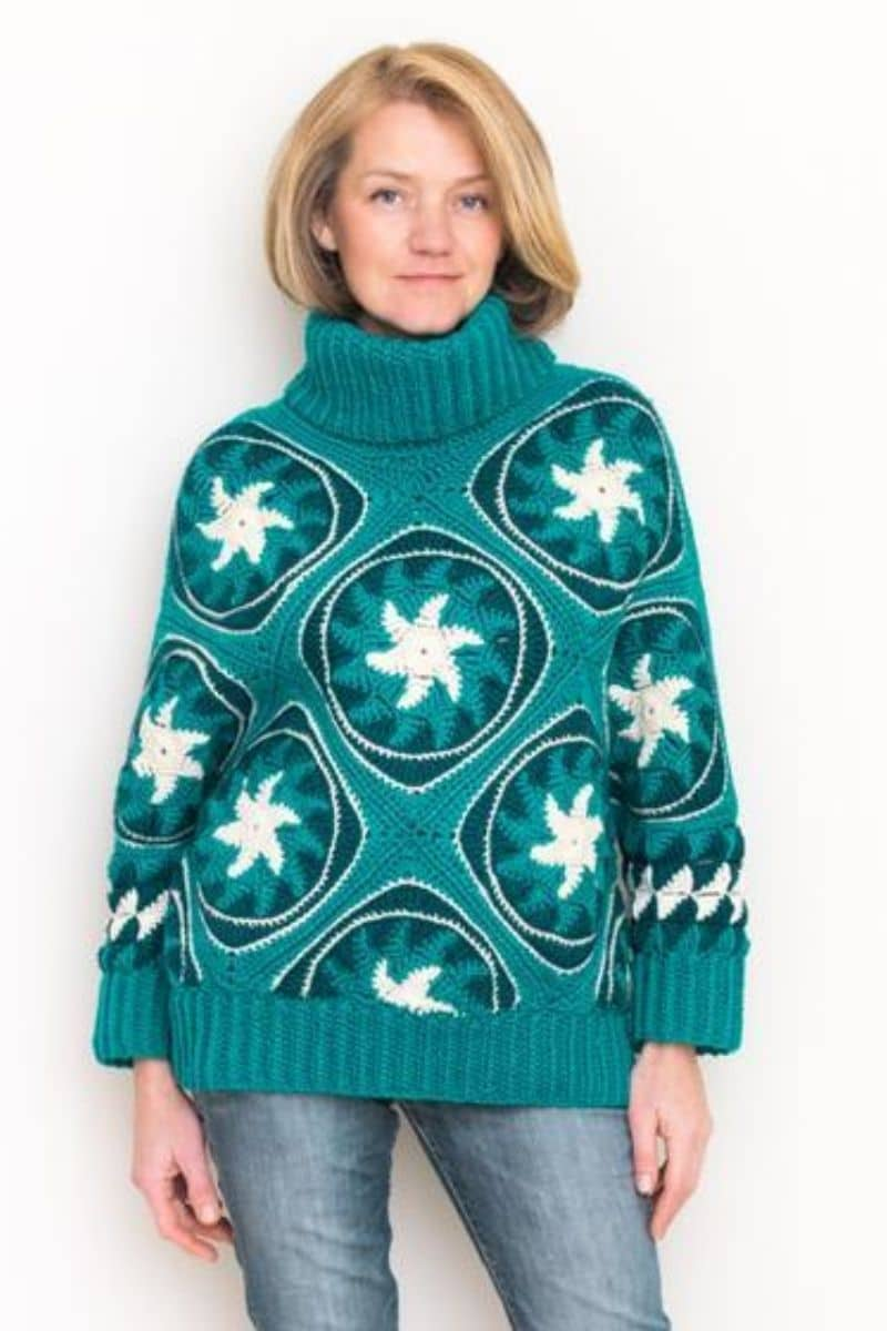 Teal swirly pattern sweater
