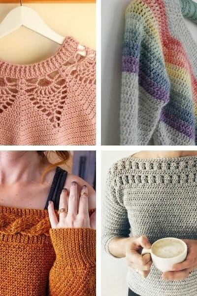 Crochet sweater pattern collage