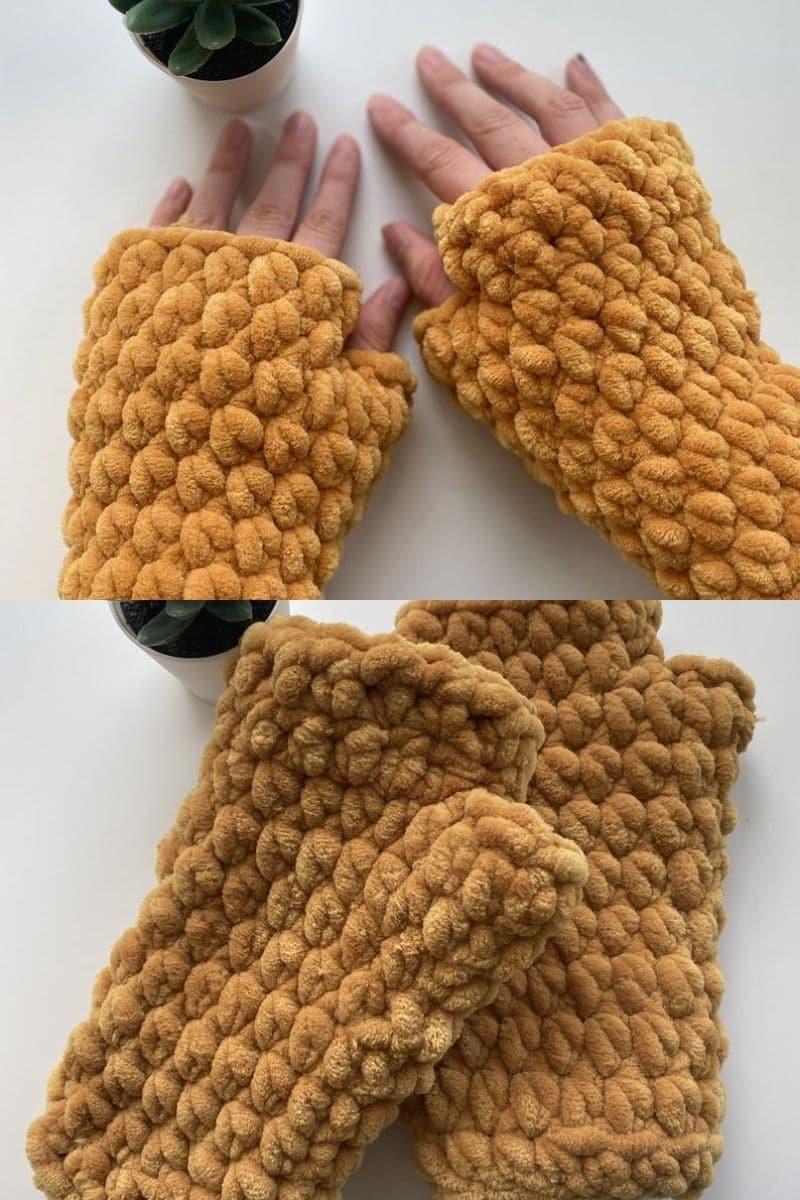 Golden chunky yarn glove