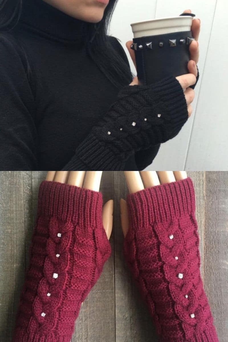 Black and maroon glove with rhinestone