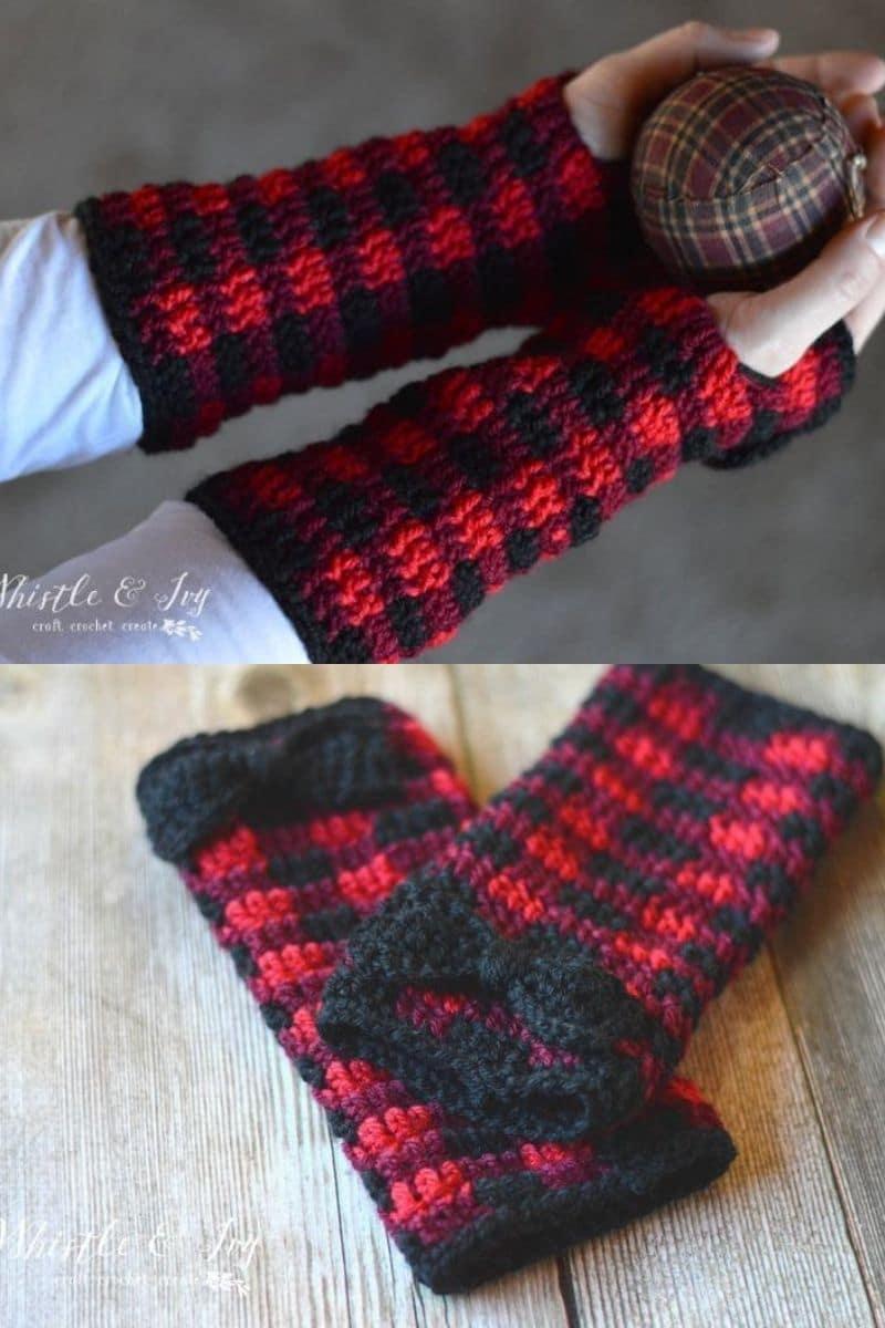 Buffalo plaid glove