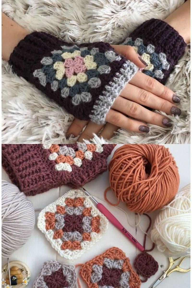 Granny square gloves