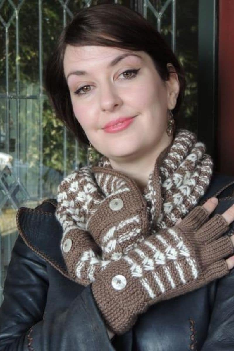 Brown and cream gloves