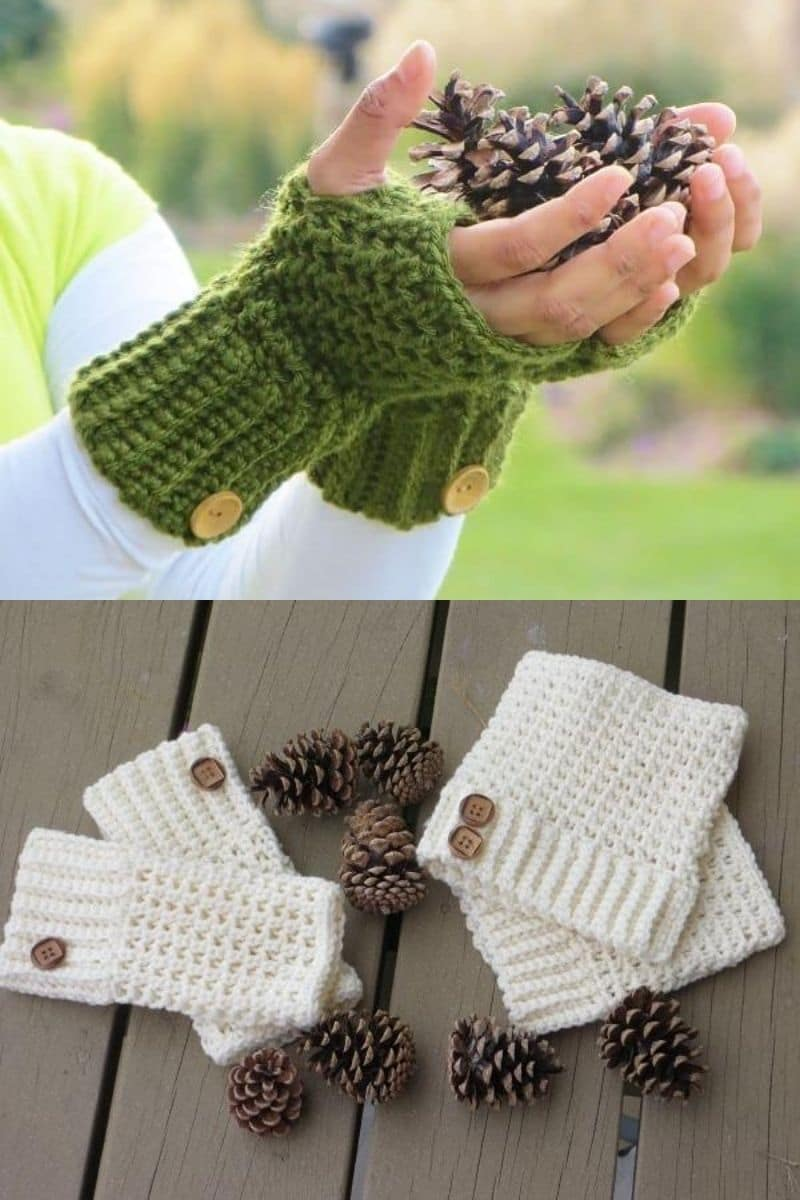 Green mitten with button