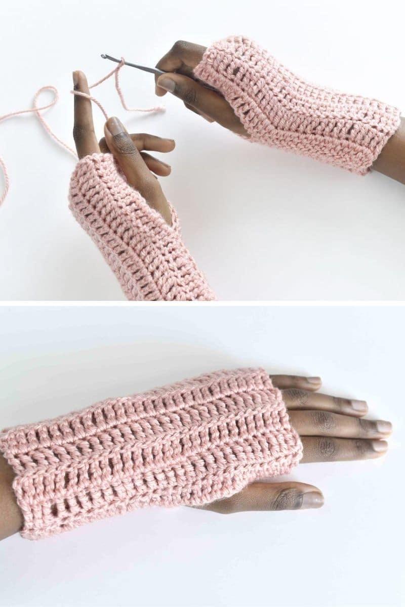 Pink fingerless mitten