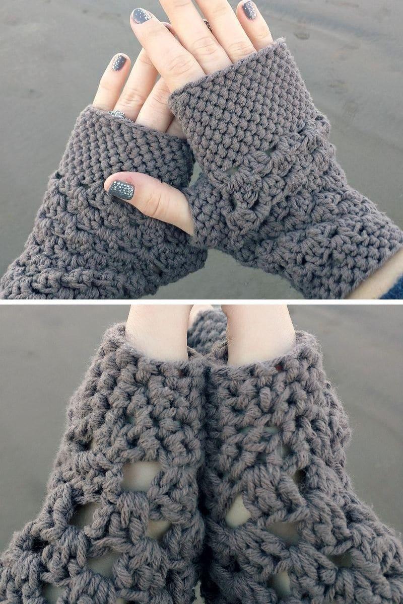 Grey crochet mitten