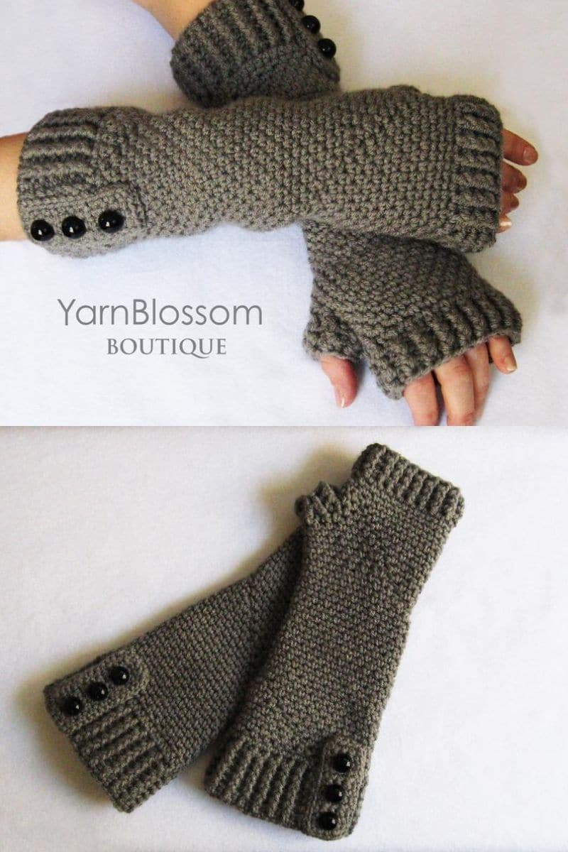 Grey lacy gloves