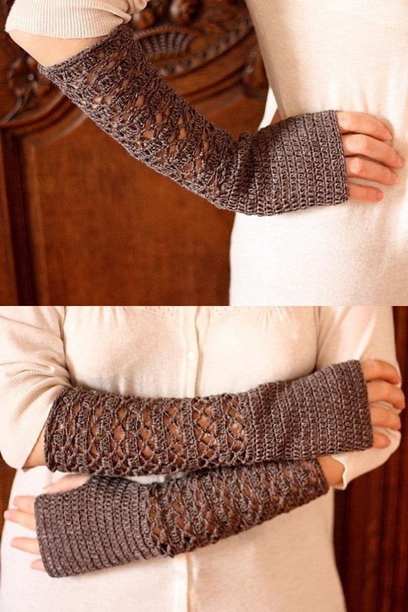 Brown lacy gloves