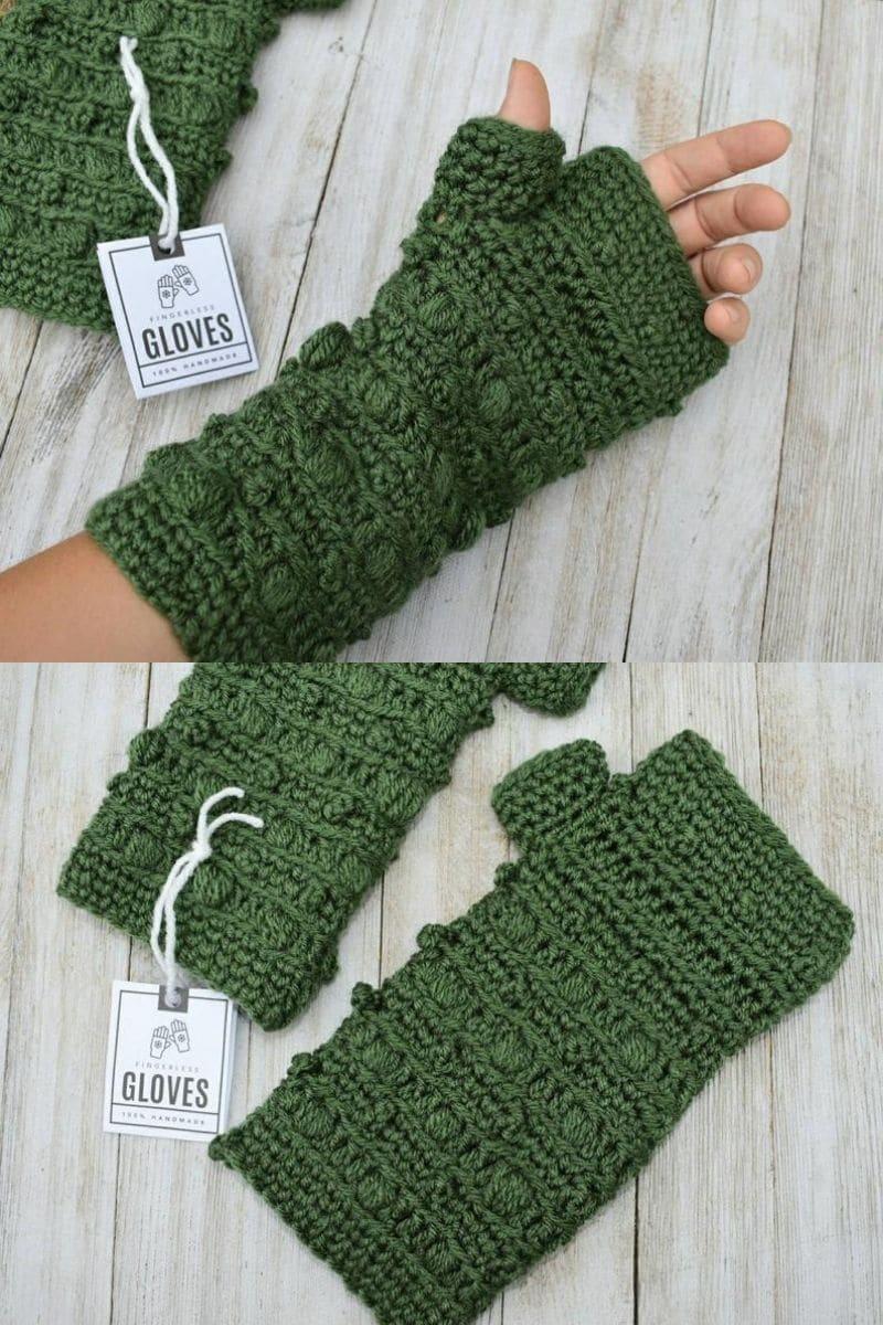 Green detailed glove