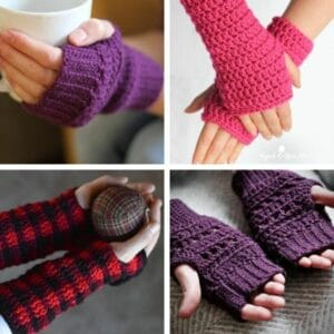 Fingerless glove crochet pattern collage