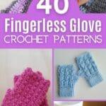 Fingerless glove crochet pattern collage