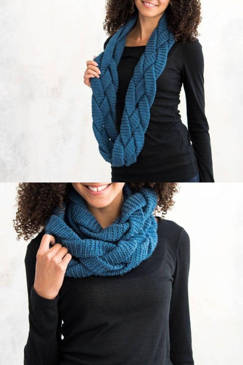 Navy braided scarf