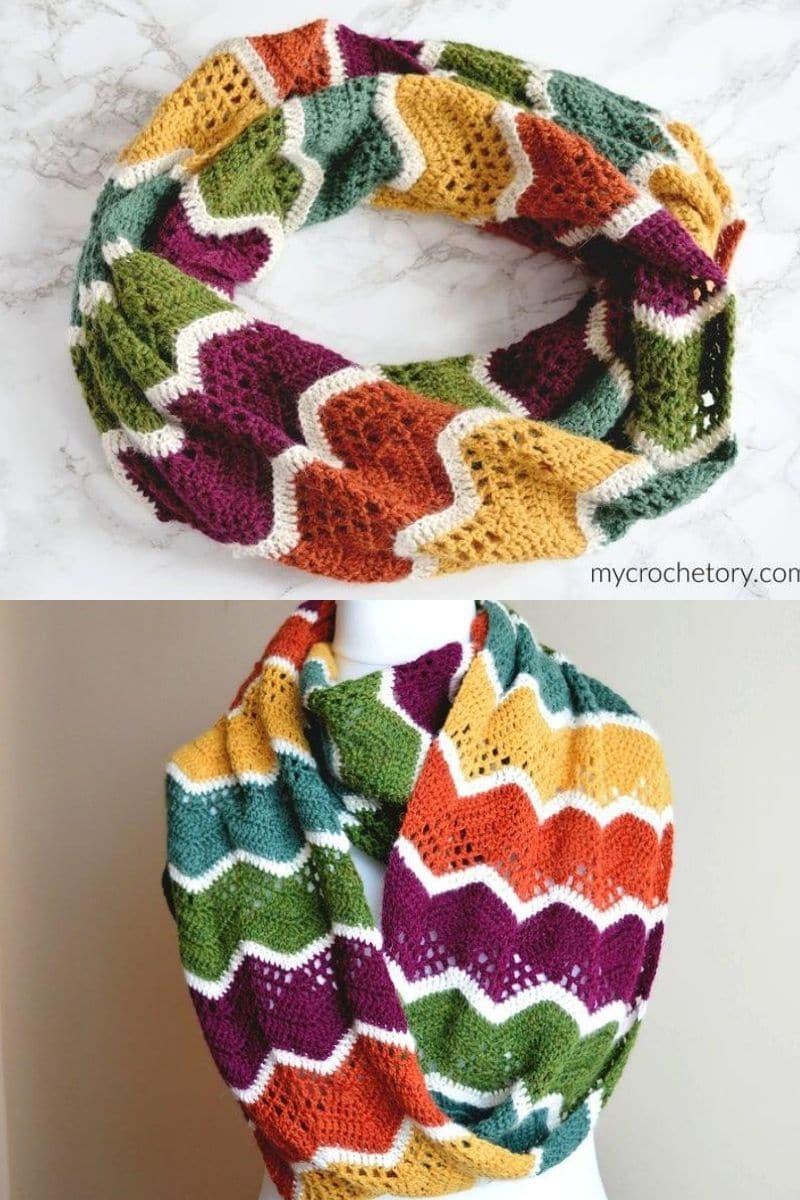Rainbow zig zag scarf