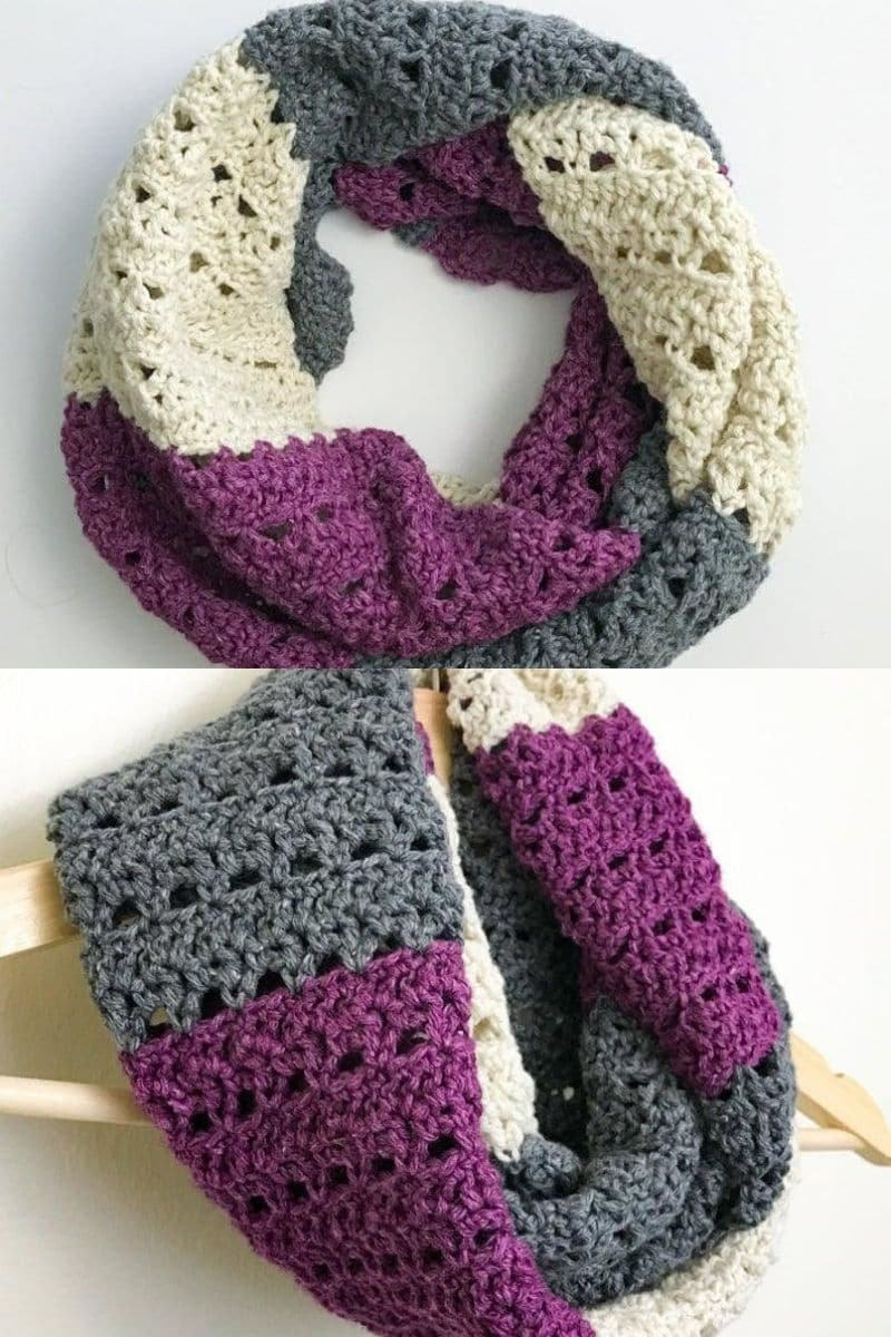 Purple grey and cream scarf