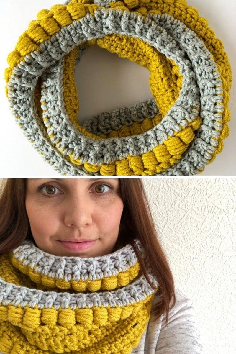 Grey and yellow scarf
