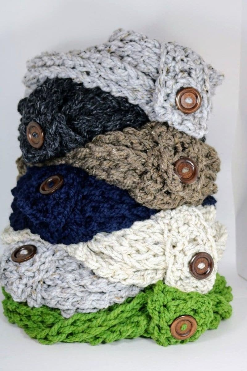 Stack of scarves with buttons