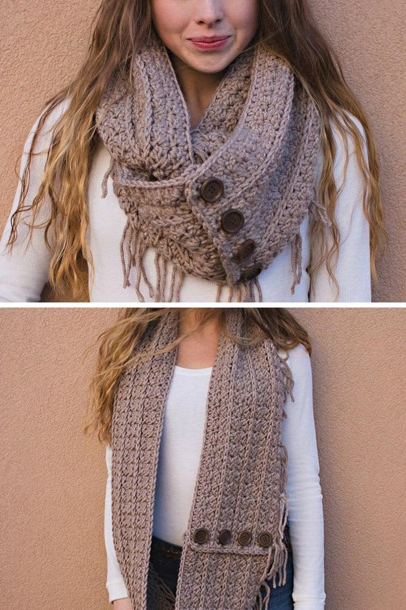 Brown scarf with button and fringe