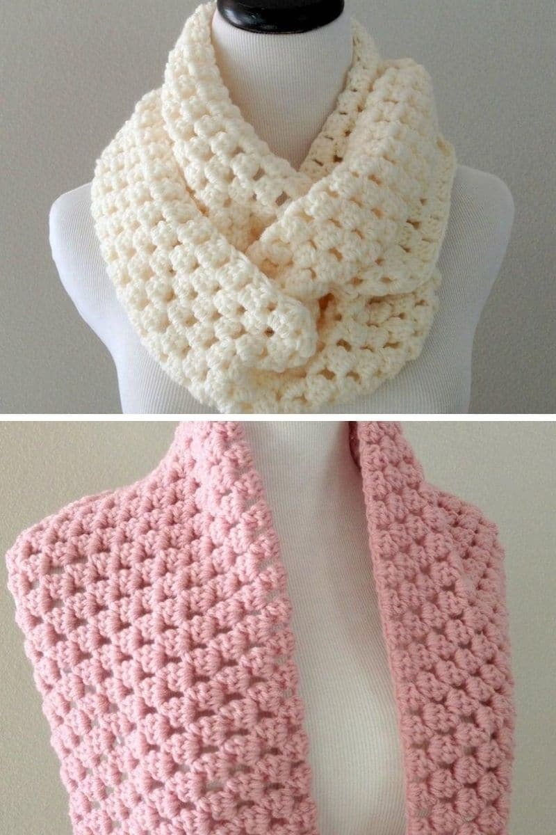 Pink and ivory scarves