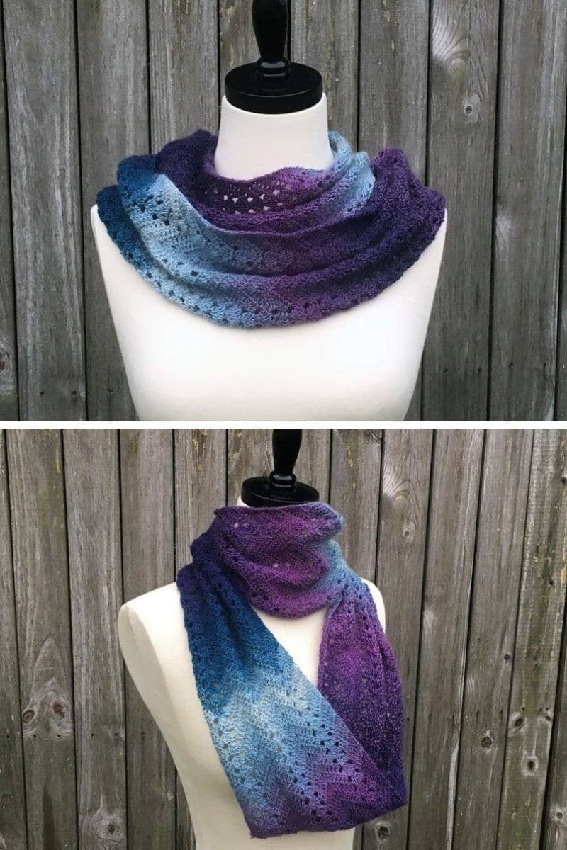 Teal and purple ombre scarf