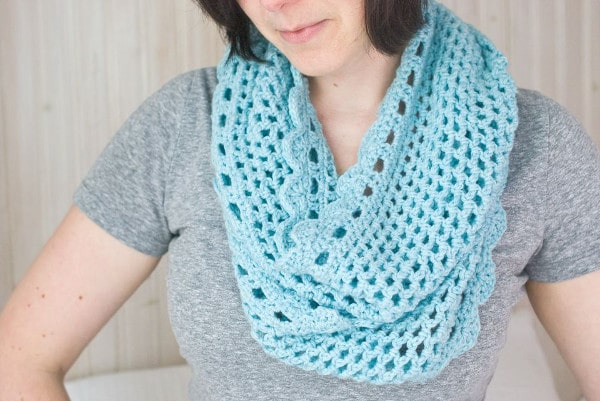 Brunette with light teal scarf