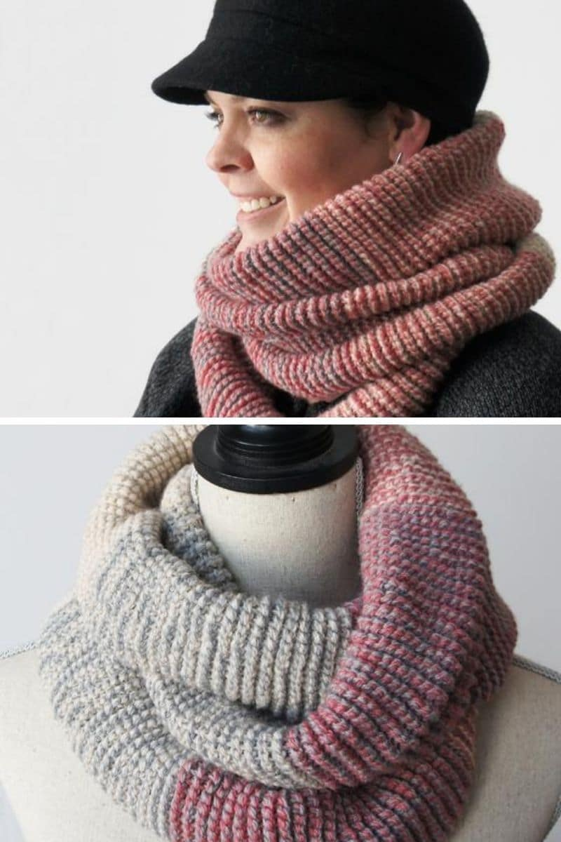 Cream and pink scarf