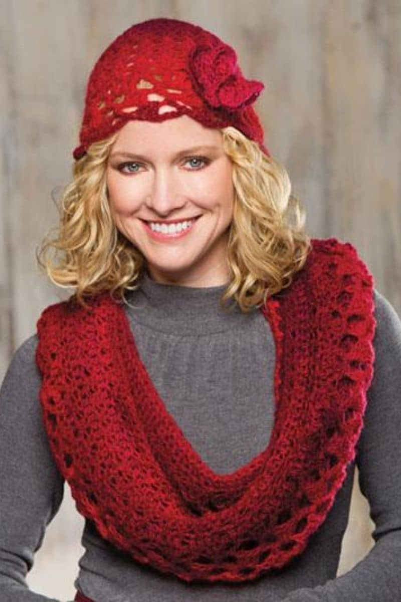 Red scarf on blonde