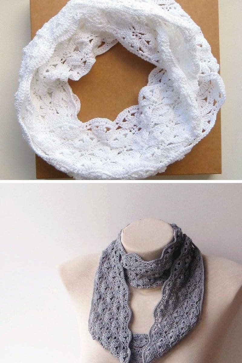 White and grey lace scarves