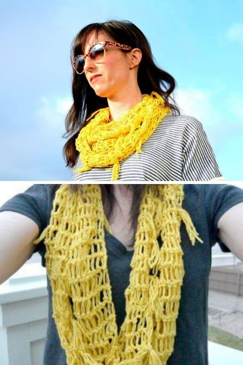 Yellow scarf with fringe