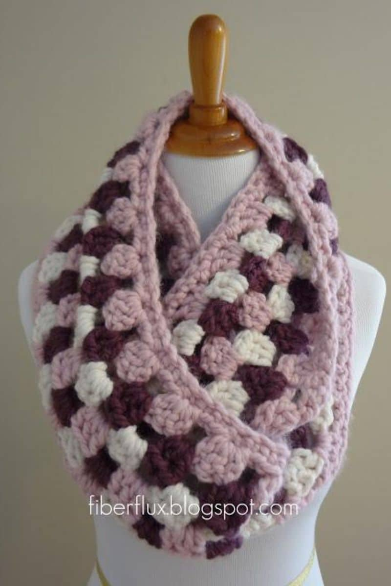 Pink and maroon scarf