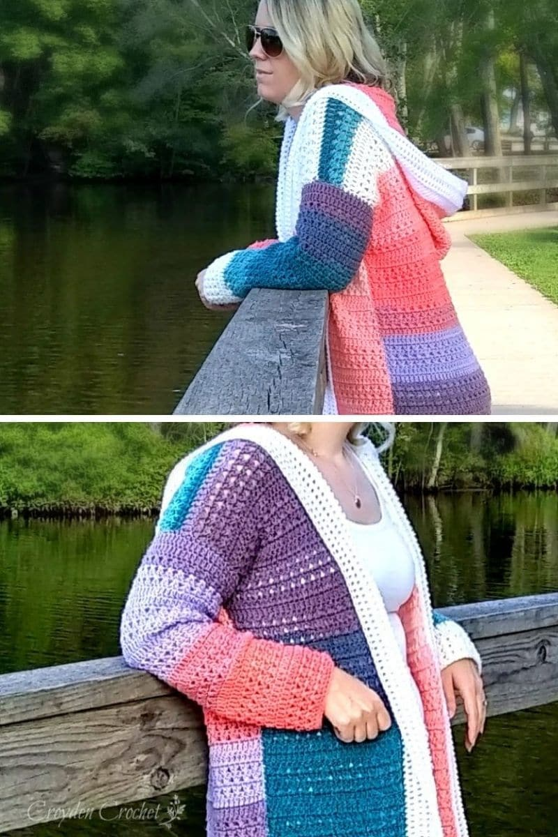 Hooded colorblock cardigan in pink and blue